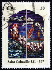 Foto op Aluminium Postage stamp Ireland 1997 St. Columba, Irish Patron Saint