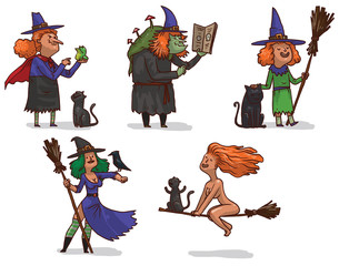 Vector set of different witches.