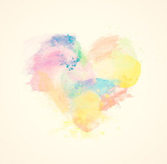 Colorful watercolor heart on canvas. Abstract art.