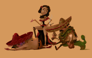 Three Mexican Characters, Two Men and a Woman. Traditional latinos in sombreros. After a fight scene. Beautiful Mexican Girl between two men. Digital Raster Illustration.