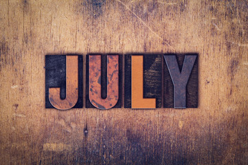 July Concept Wooden Letterpress Type