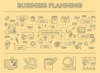 Line design concept banner for business planning