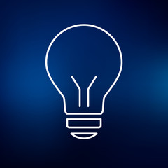 Halogen lightbulb icon. Light bulb sign. Light electricity symbol. Thin line icon on blue background. Vector illustration.