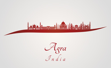 Agra skyline in red Fototapete