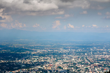Chiangmai downtown from Doi Su Thep with nimbus