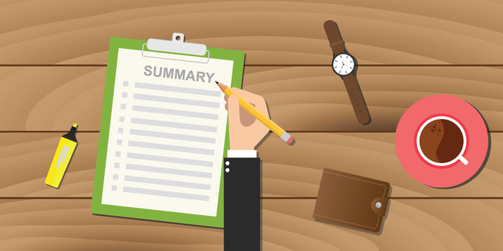summary report business clipboard executive hand coffee