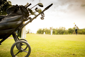 Golf bag with clubs on green field