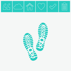 Shoe print vector icon.