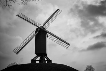 Old windmill on a hill in Black and Whiate