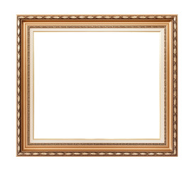 Empty golden vintage frame isolated on white background