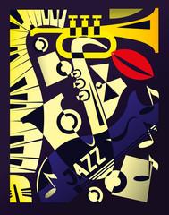 Vector illustration for design banner jazz music festival in retro geometric abstraction style