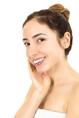 Woman touching her healthy skin