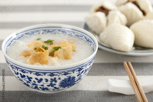 Chinese food rice porridge and cantonese barbecued pork buns