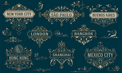 Vintage logos and elements. vector template.