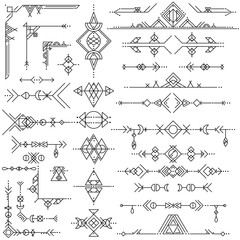 Collection of vector geometric line art design elements. Tribal