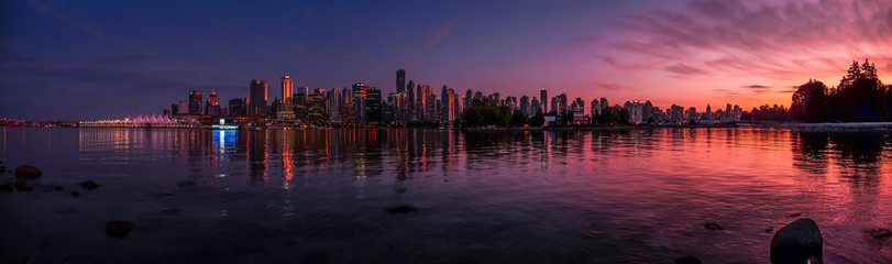 Beautiful Vancouver skyline and harbor with idyllic sunset glow, Canada Wall mural