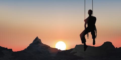 Paysage Alpiniste-Coucher de soleil