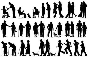 Vector silhouettes of elderly couples in good or bad times
