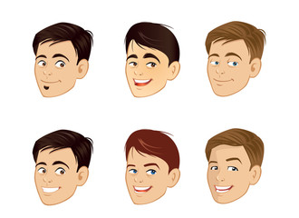 cartoon vector illustration of a mens smiling faces