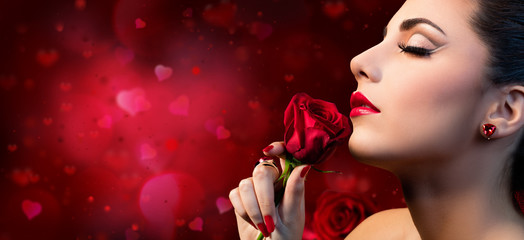 Valentines Beauty - Sensual Model Woman Touching Red Rose Flower