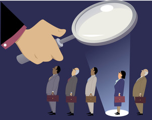 Businesswoman standing in a line with male coworkers under a magnifying glass, in a spotlight, EPS 8 vector illustration, no transparencies