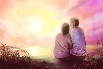Digital painting,young couple in romantic scene with sunset