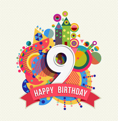 Happy birthday 9 year greeting card poster color