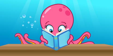 cartoon vector illustration of an octopus reading