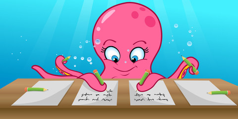 cartoon vector illustration of an octopus writing