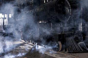 steam locomotive with steam