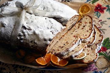 Bishop's bread cake sliced