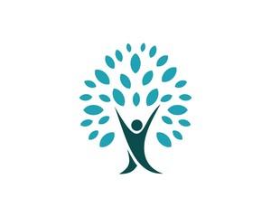 blue human shape tree logo