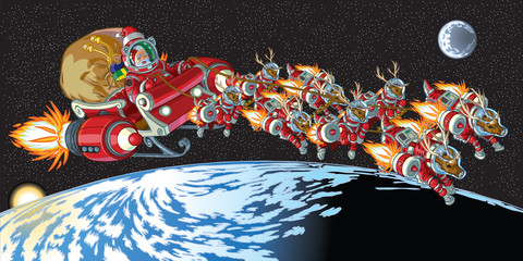Astronaut Santa Claus and Reindeer in Orbit