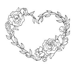 Vector hand drawn rose wreath in heart shape illustration.