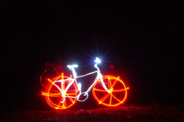 A bicycle made out of light.