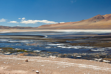 Fototapete - Weird Colored Lakes in the Road to Paso de Jama, North Chile