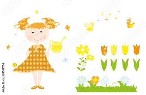 Wiosna Dziewczynka Z Konewką I Elementy Wiosenne Ptaki Kwiaty