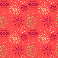 Christmas seamless pattern. Red, green, white snowflakes on magenta background. Winter texture. Fruit snow. Vector
