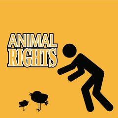 Animal Rigths illustration over orange color background