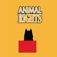 Animal Rigths illustration over orange color background