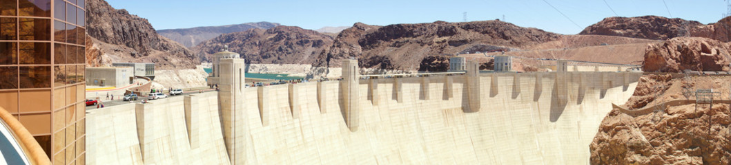 Hoover Dam. Border between the states of Nevada and Arizona, USA