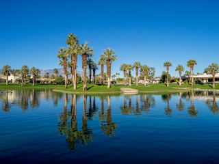 Water feature on a golf course in Palm Desert.