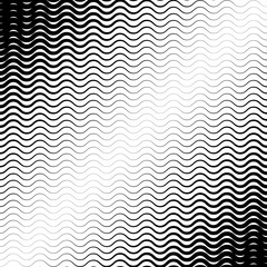 Background with gradient of black and white wave lines