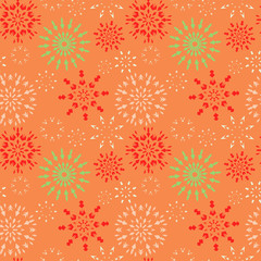 Christmas seamless pattern. Red, green, white snowflakes on orange background. Winter theme retro texture. Vector