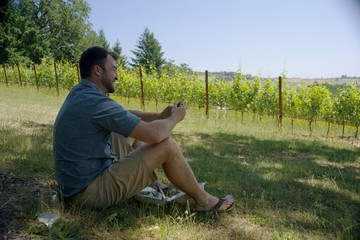 Man holding a sandwich, enjoying his lunch looking at a vineyard.