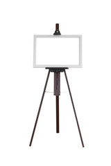 Picture oval frame with wooden easel isolated