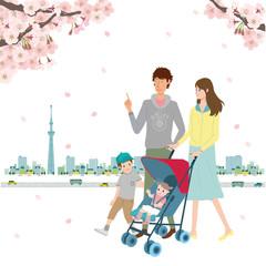 春 桜 イラスト 家族