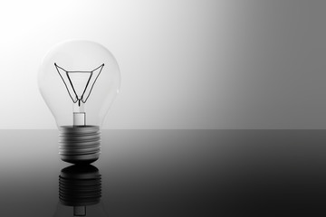 idea lightbulb with blank space in black and white