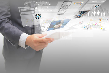 businessman working on virtual screen.business concept,technolog