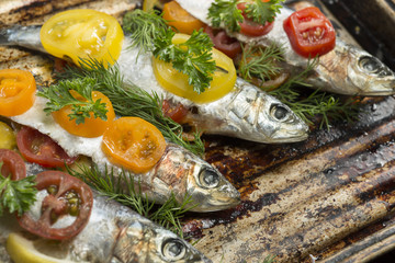 Cooking fresh herring fish with garlic lemon dill cherry tomatoes
